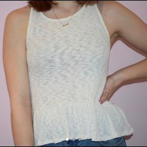 Urban Outfitters White Peplum Blouse